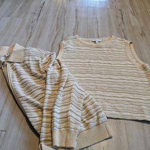 St John knit womens top cardigan set stripes gold
